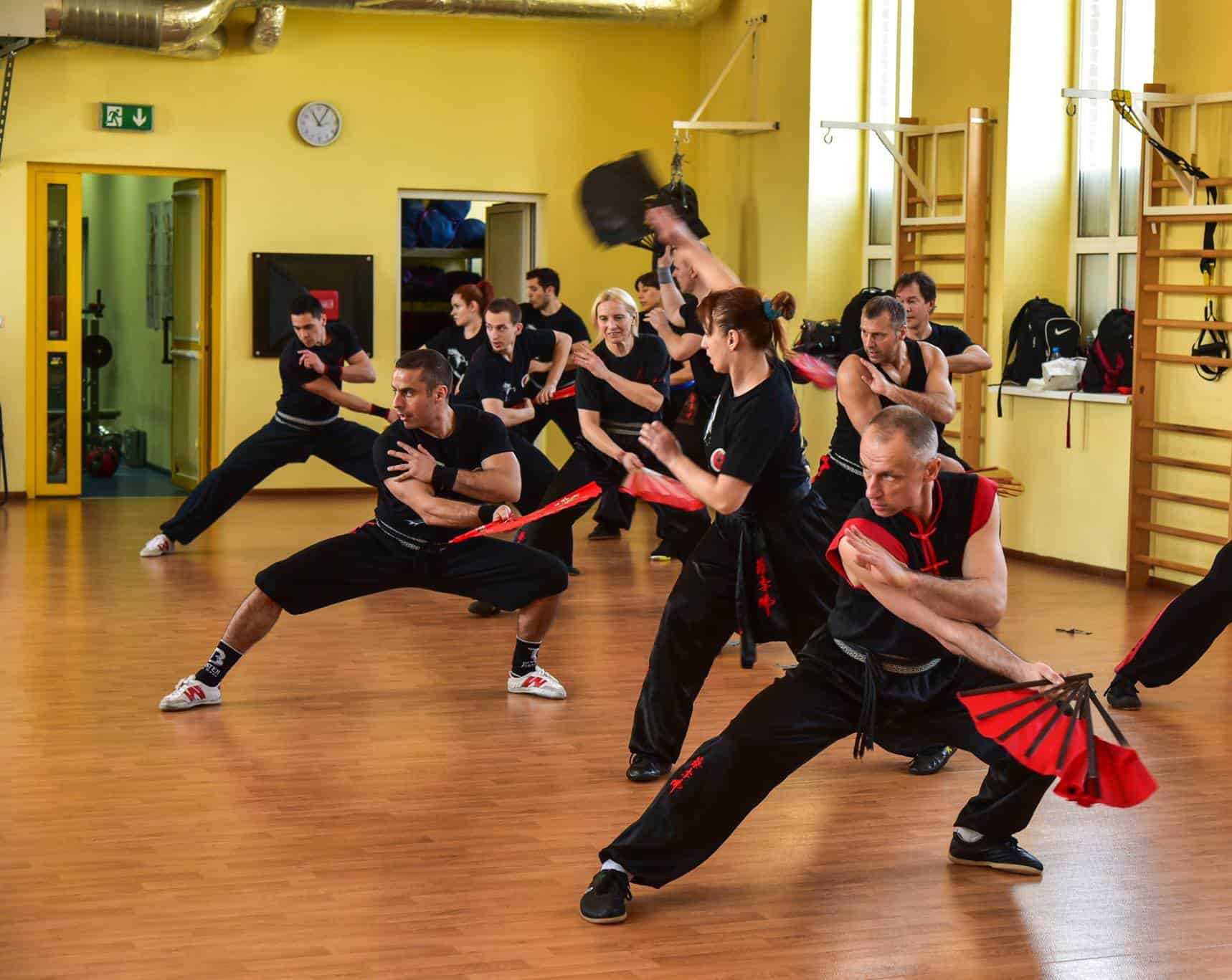 A group of students practicing kung fu in montreal